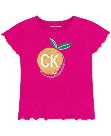 Calvin Klein Big Girls Reversible Sequin Fruit T-Shirt