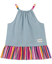 Big Girls Rainbow Stripe Chambray Tank Top