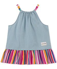 Calvin Klein Big Girls Rainbow Stripe Chambray Tank Top