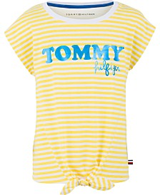 Tommy Hilfiger Big Girls Striped Graphic-Print T-Shirt