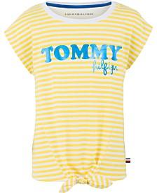 Tommy Hilfiger Big Girls Striped Graphic-Print T-Shirt