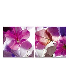 """Decor Orchid 2 Piece Wrapped Canvas Wall Art Floral Design -27"""" x 55"""""""