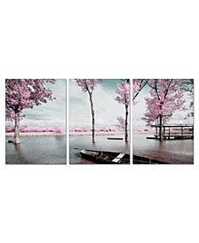 "Decor Blossom 3 Piece Wrapped Canvas Wall Art Lakeside Scene -27"" x 60"""
