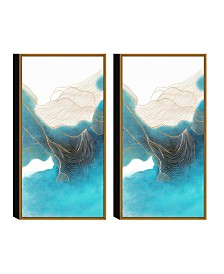 "Chic Home Decor Ocean Waves 2 Piece Framed Canvas Wall Art Abstract -30"" x 31"""