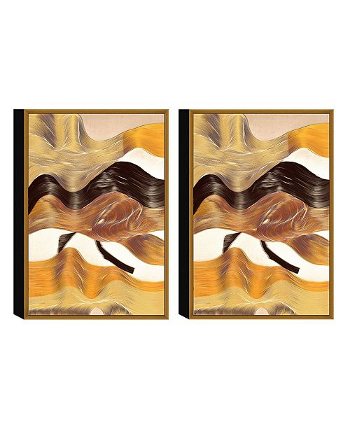 "Chic Home Decor Regis 2 Piece Framed Canvas Wall Art Abstract Design -20"" x 31"""