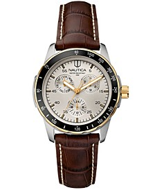 Men's N11502G Wind Seeker Multifunction Brown/Two-Tone Leather Strap Watch