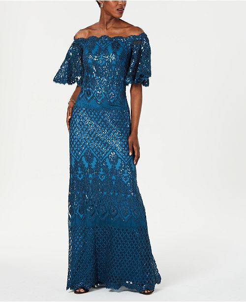 Tadashi Shoji Off-The-Shoulder Sequined Gown