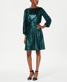 Tadashi Shoji Sequined Lace-Back Blouson Dress