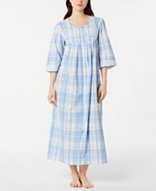 Miss Elaine Plus Size Plaid Seersucker Long Zip-Up Robe