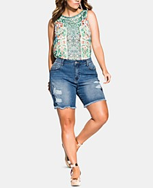 Trendy Plus Size Ripped Denim Shorts