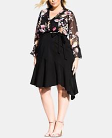 Trendy Plus Size Asymmetrical Wrap Skirt