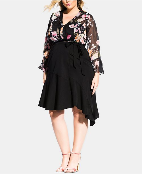City Chic Trendy Plus Size Asymmetrical Wrap Skirt
