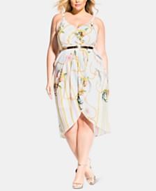 City Chic Trendy Plus Size Primavera Chain-Belt Dress