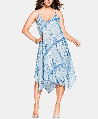 City Chic Trendy Plus Size Palermo Handkerchief-Hem Dress