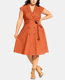 Trendy Plus Size Lafayette Belted Shirtdress