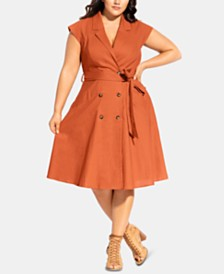 City Chic Trendy Plus Size Lafayette Belted Shirtdress