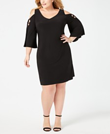 MSK Plus Size Cold-Shoulder Dress