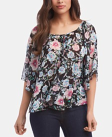 Karen Kane Printed Pleated Top