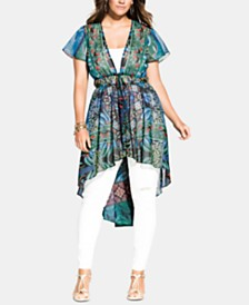 City Chic Trendy Plus Size Tangier Printed Jacket