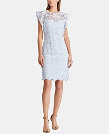 Lauren Ralph Lauren Petite Cap-Sleeve Lace Dress