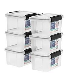 Iris 6.5 Quart Weather tight Storage Box, 6 Pack