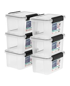 Iris 6.5 Quart Weather tight Storage Box, 6 Pack
