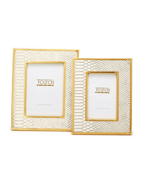 Two's Company White Python Photo Frames with Gold Edge - Set of 2