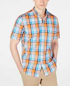 Club Room Men's Plaid Short-Sleeve Shirt, Created for Macy's