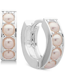 Lauren Ralph Lauren Silver-Tone Blush Imitation Pearl Huggins Hoop Earrings