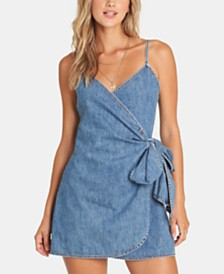 Billabong Juniors' Cotton Denim Wrap Dress
