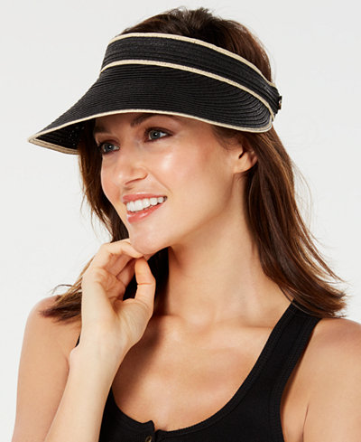 Calvin Klein Straw Visor with Elastic Band