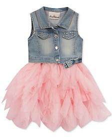 Rare Editions Little Girls Denim Tiered Mesh Dress