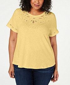 Plus Size Cutout Short-Sleeve Top, Created for Macy's