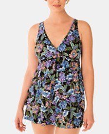 Swim Solutions Boho Play V-Neck Ruffle Swimdress, Created for Macy's