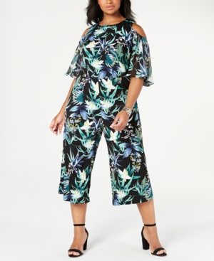 Plus Size Printed Cold-Shoulder Jumpsuit