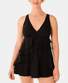Swim Solutions Solid V-Neck Ruffle Swimdress, Created for Macy's
