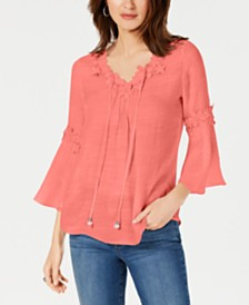 NY Collection Petite Lace-Trim Tie-Front Top