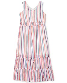 Big Girls Rainbow Stripe Maxi Dress