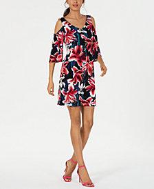 Connected Cold-Shoulder Floral Dress