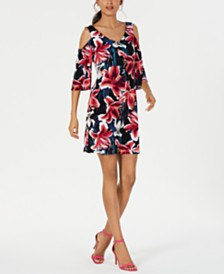Connected Petite Floral Printed Cold-Shoulder Dress