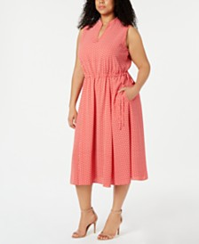 Anne Klein Plus Size Printed Drawstring Dress