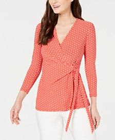 Anne Klein Printed Faux-Wrap Top