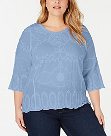Plus Size Embroidered 3/4-Sleeve Top