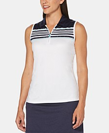 Striped Zip Sleeveless Golf Polo