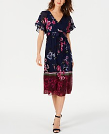 Taylor Petite Printed Ruffled Midi Dress