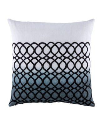 """Nikki Chu By Seville White/Blue Geometric Down Throw Pillow 22"""""""