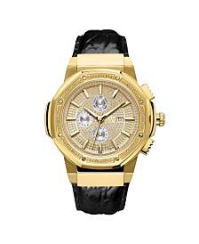 JBW Men's 10 YR Anniversary Saxon Diamond (1/6 ct.t.w.) & 18K Gold Plated Watch