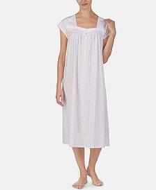 Eyelet-Trim Cotton Knit Ballet-Length Nightgown