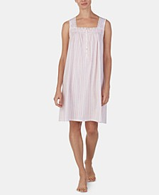 Lace-Trim Cotton Knit Nightgown