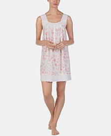 Eyelet-Trim Floral-Print Cotton Chemise Nightgown